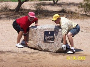 My brother and I -- We are trying to move that pesky rock!